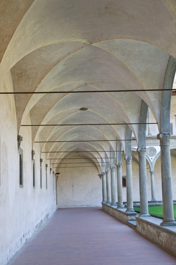 Het perspectief van kolommen in het klooster van Croce van de Kerstman royalty-vrije stock foto's