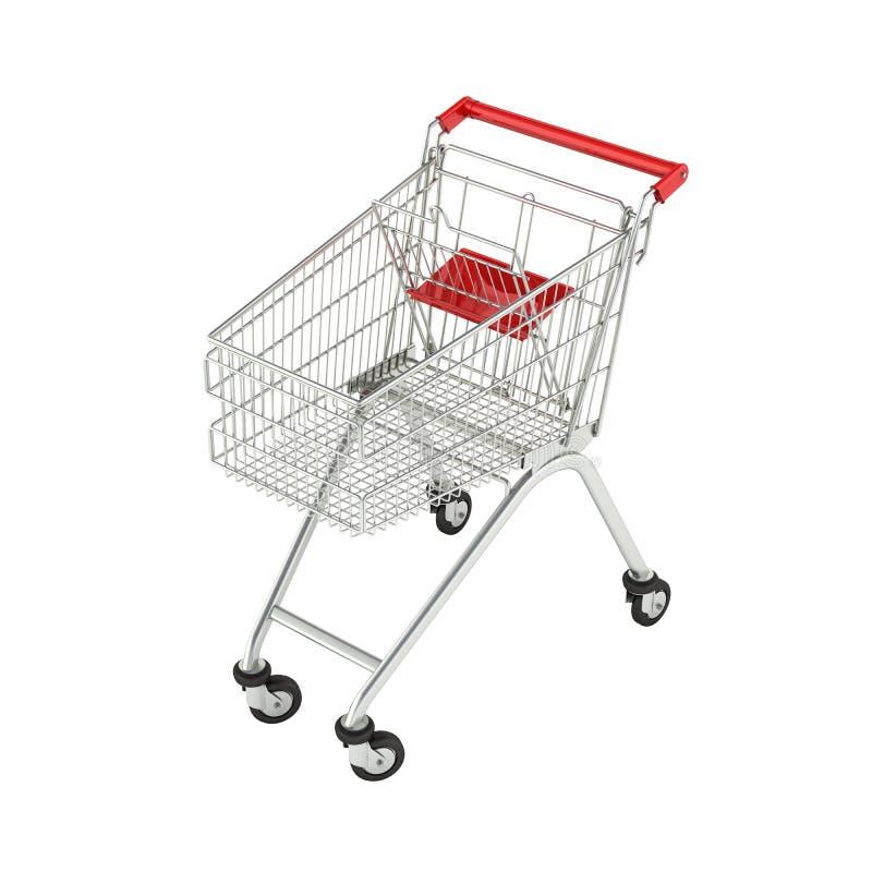 Het perspectiefmening van het supermarktboodschappenwagentje zonder schaduw op witte 3d achtergrond vector illustratie