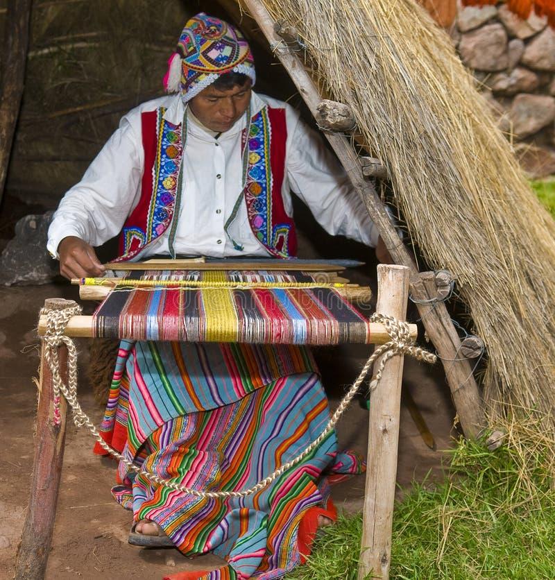 Het Peruviaanse mens weven royalty-vrije stock foto's