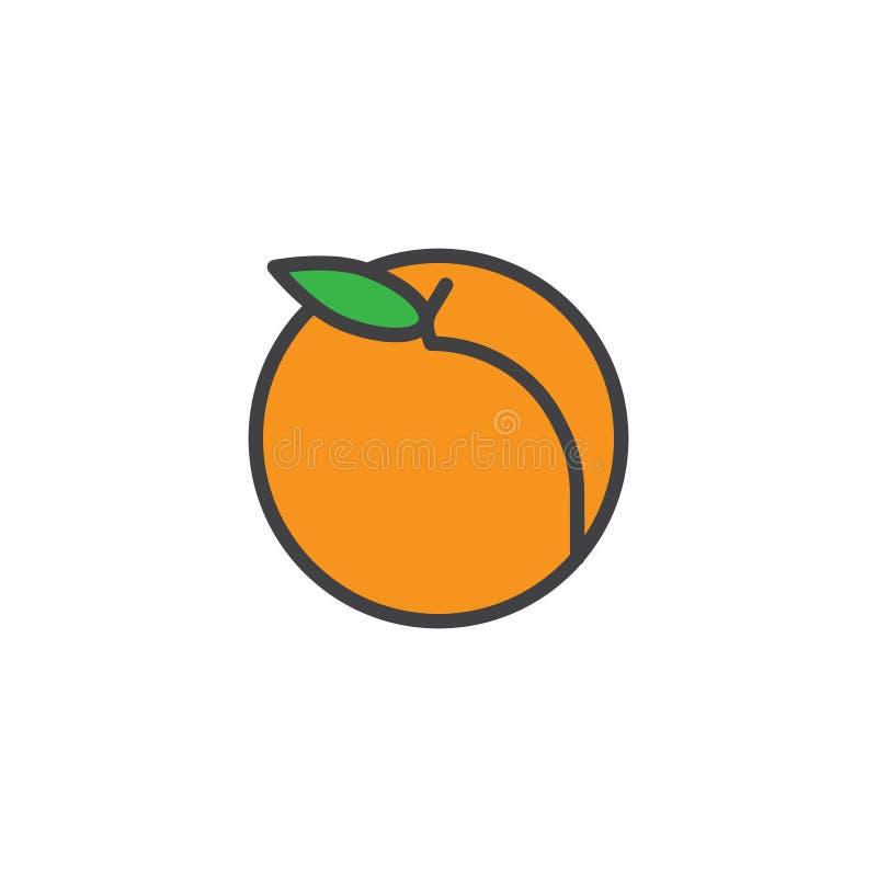Het perzikfruit vulde overzichtspictogram royalty-vrije illustratie