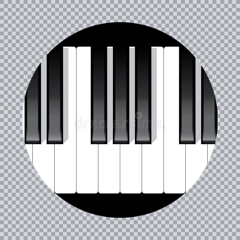 Het pianopictogram en de sleutels van de muziekdruk en Web van het pianoconcept moderne ontwerpen pianoaffiche op witte vector stock illustratie