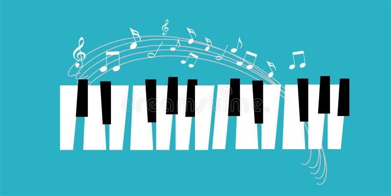 Het pianopictogram en de sleutels van de muziekdruk en Web van het pianoconcept moderne ontwerpen pianoaffiche op witte vector royalty-vrije illustratie