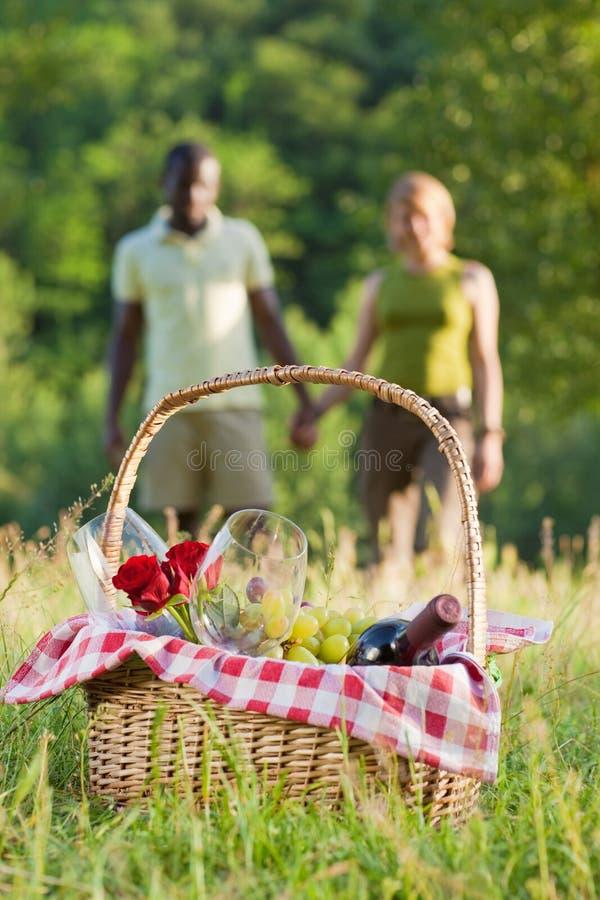 Het picnicking van het paar royalty-vrije stock afbeelding