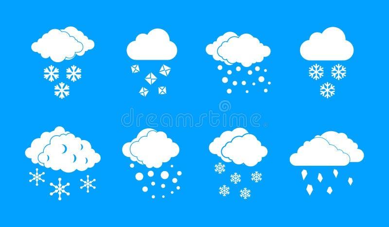 Het pictogram blauwe vastgestelde vector van de sneeuwwolk vector illustratie