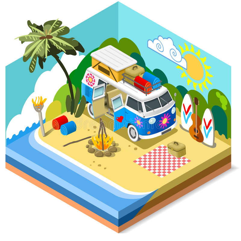 Het Pictogram 3D Isometrisch van het strandleven royalty-vrije illustratie