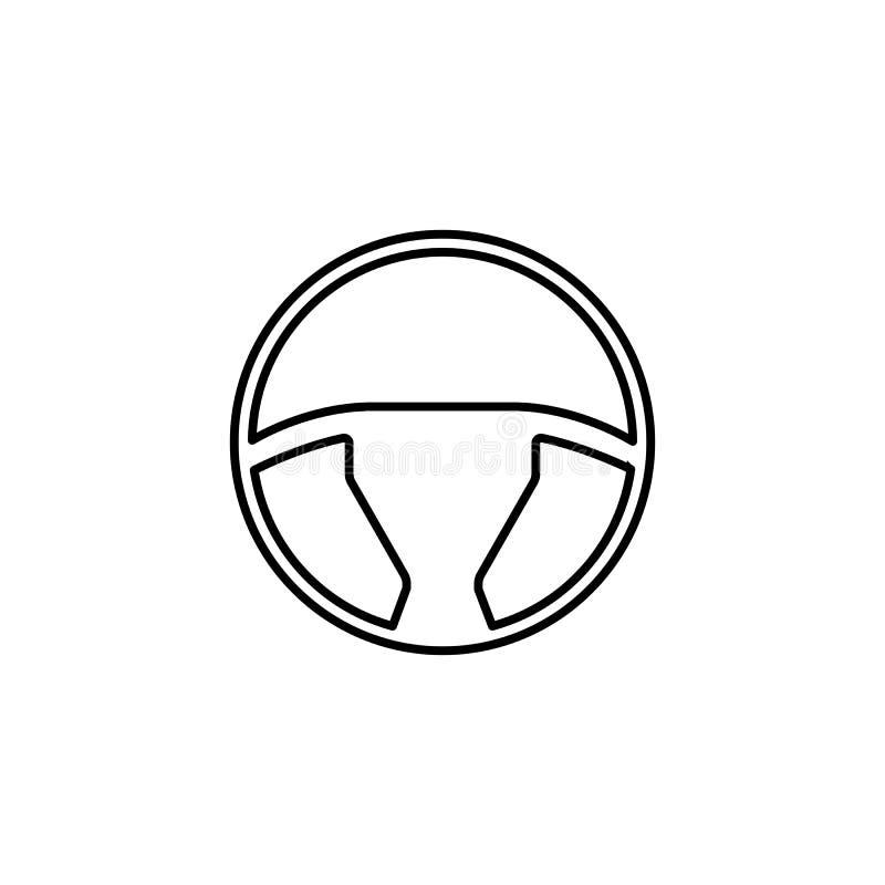 Het pictogram, de auto en de navigatie van de stuurwiellijn royalty-vrije illustratie