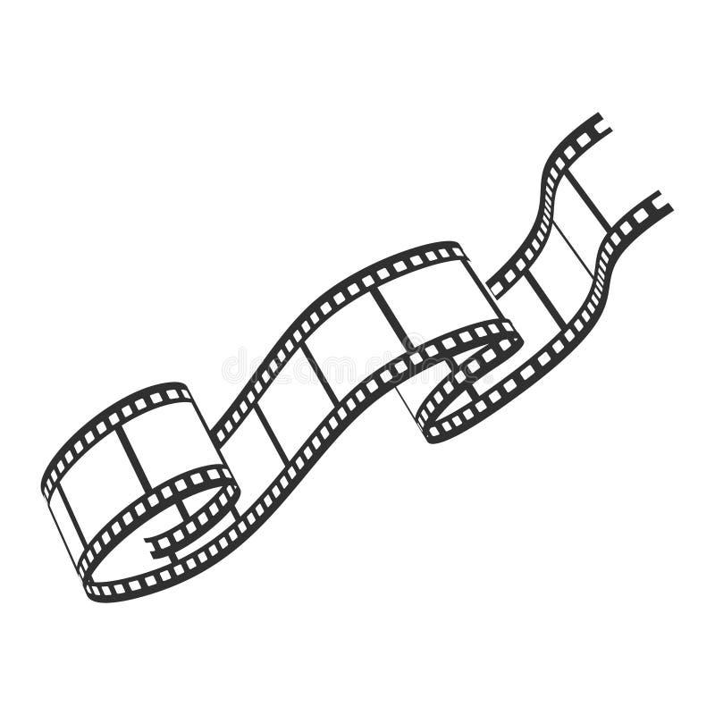 Het pictogram, de cinematografie en de fotografiebandstrook van de filmspoel stock illustratie