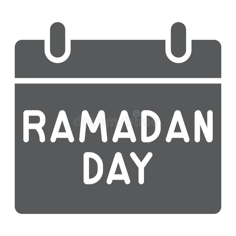 Het pictogram, de datum en islam van de Ramadankalender glyph, ramadam dagteken, vectorafbeeldingen, een stevig patroon op een wi royalty-vrije illustratie