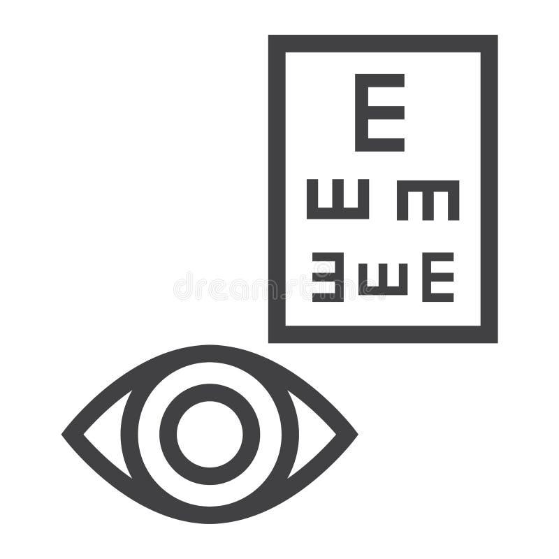 Het pictogram, de geneeskunde en de gezondheidszorg van de optometrielijn vector illustratie