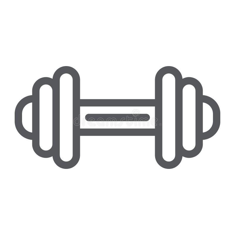 Het pictogram, de oefening en de gymnastiek van de domoorlijn, barbell ondertekenen, vectorafbeeldingen, een lineair patroon op e vector illustratie
