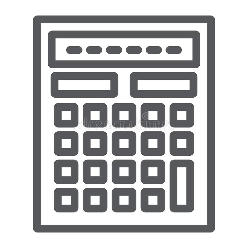 Het pictogram, de wiskunde en de boekhouding van de calculatorlijn, berekenen teken, vectorafbeeldingen, een lineair patroon op e stock illustratie