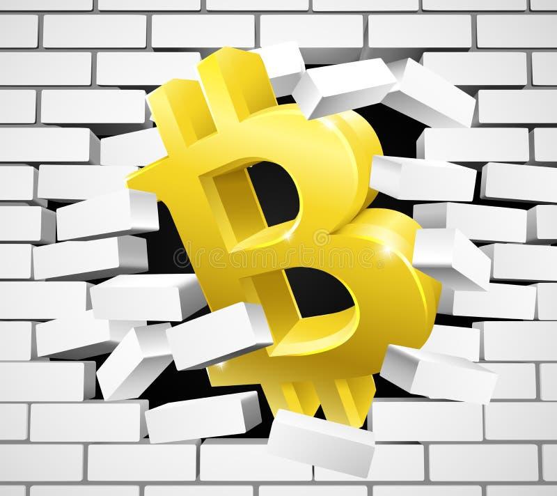Het Pictogram die van het Bitcointeken Witte Bakstenen muur breken royalty-vrije illustratie