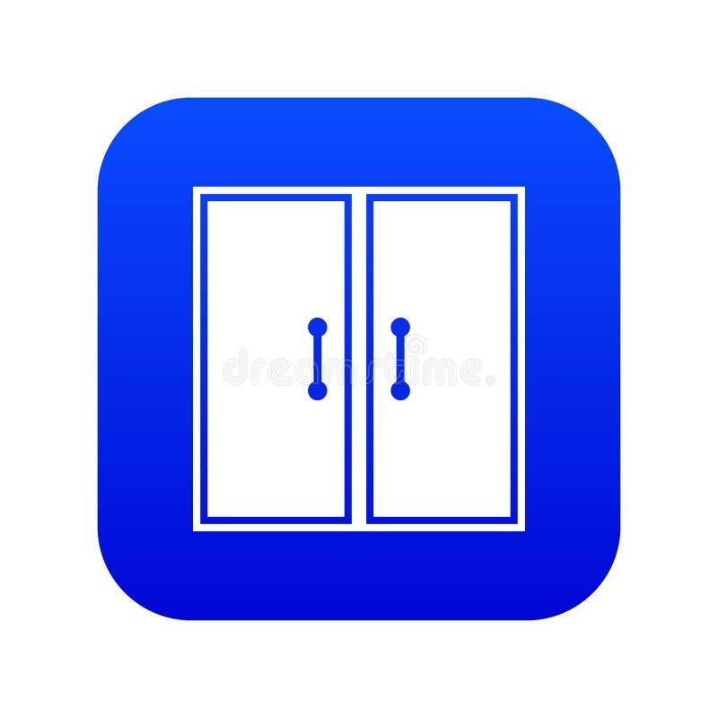 Het pictogram digitaal blauw van twee glasdeuren stock illustratie