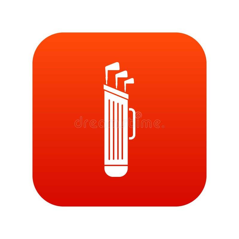 Het pictogram digitaal rood van de golfclubszak vector illustratie