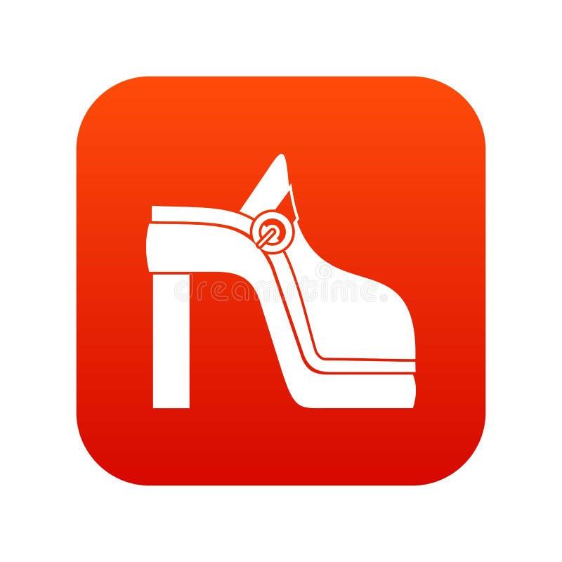 Het pictogram digitaal rood van de vrouwenschoen royalty-vrije illustratie