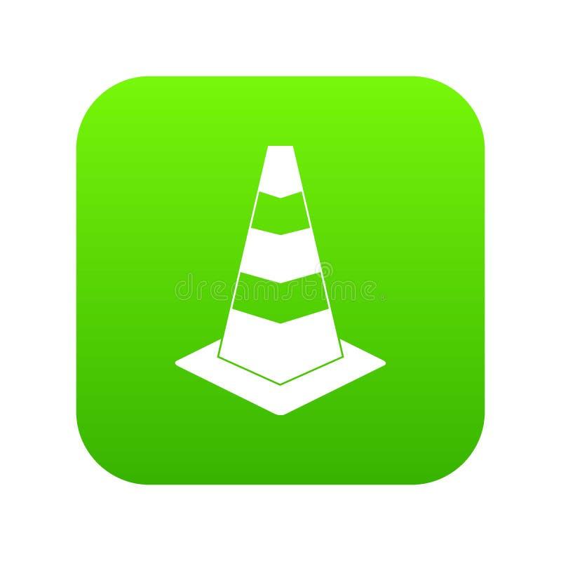Het pictogram digitale groen van de verkeerskegel royalty-vrije illustratie