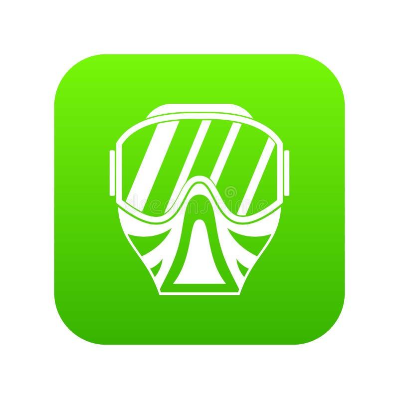 Het pictogram digitale groen van het Paintballmasker royalty-vrije illustratie