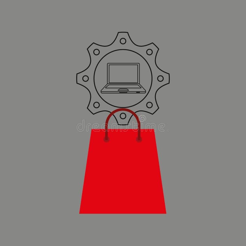 Het pictogram elektronische handel van het bedrijfslaptop geldontwerp royalty-vrije illustratie
