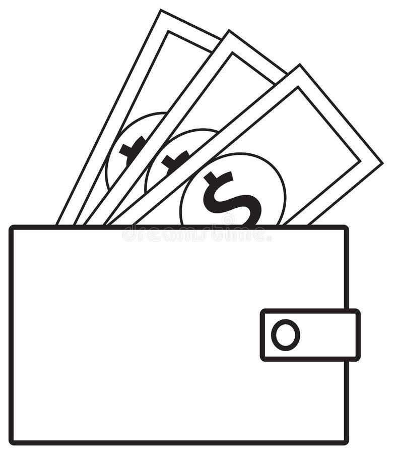 Het pictogram of het embleem van de dollarmunt op nota's die uit een portefeuille knallen stock illustratie