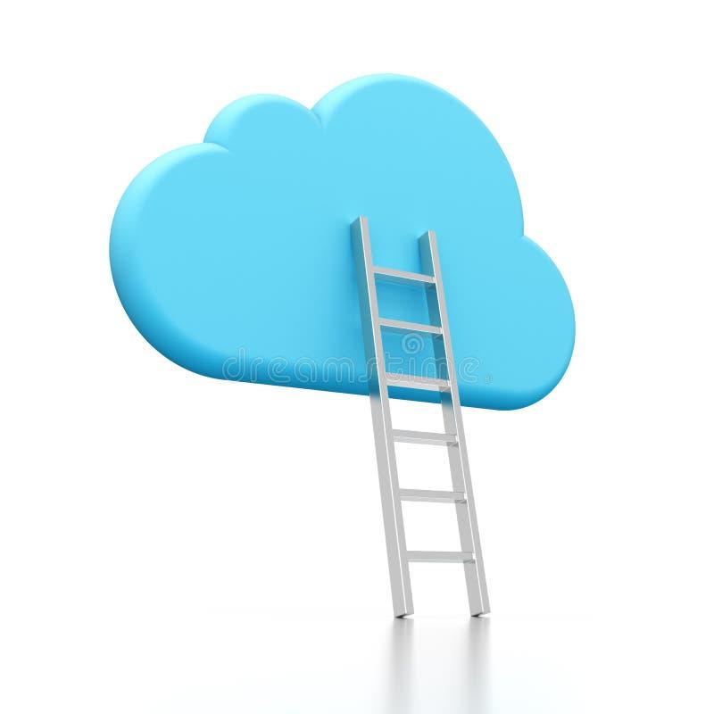 Het pictogram en de ladder van de wolk stock illustratie
