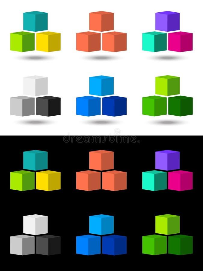 Het pictogram en het embleemontwerp van kubussen royalty-vrije illustratie