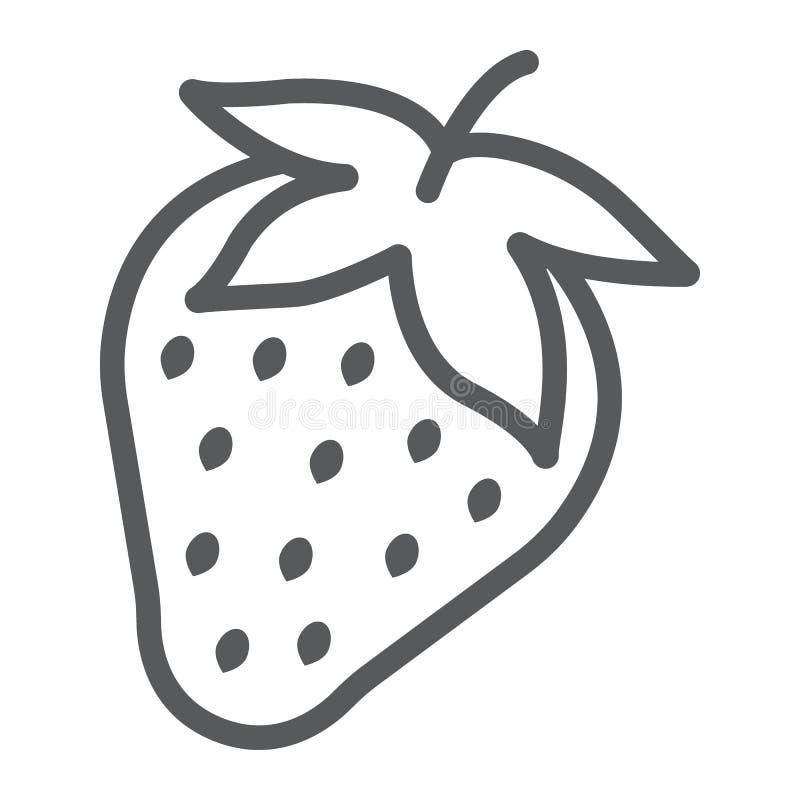 Het pictogram, het fruit en de vitamine van de aardbeilijn stock illustratie