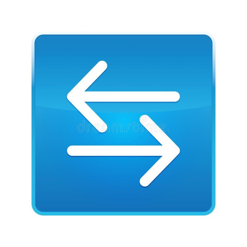 Het pictogram glanzende blauwe vierkante knoop van de overdrachtpijl stock illustratie