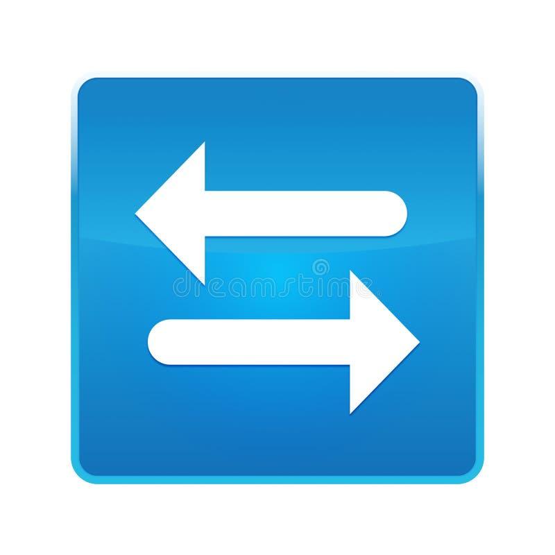 Het pictogram glanzende blauwe vierkante knoop van de overdrachtpijl royalty-vrije illustratie