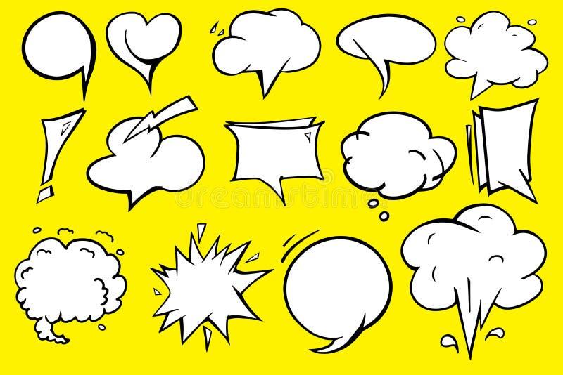 Het pictogram grafisch vectorontwerp van de toespraakbel met gele achtergrond royalty-vrije stock afbeelding