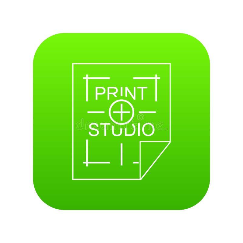 Het pictogram groene vector van de drukstudio vector illustratie