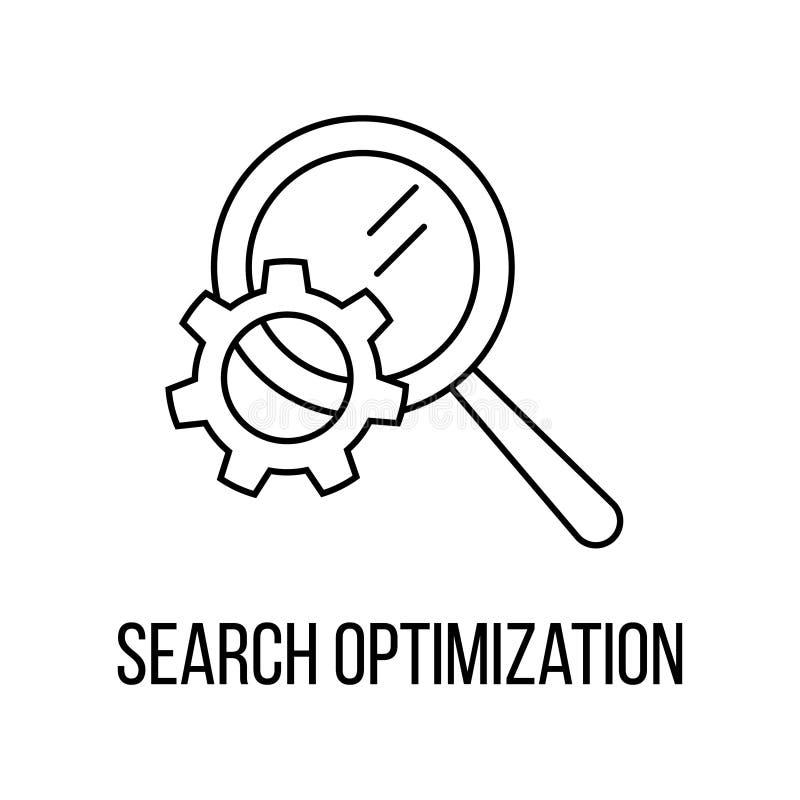 Het pictogram of het embleem de stijl van de lijnkunst van de onderzoeksoptimalisering stock illustratie