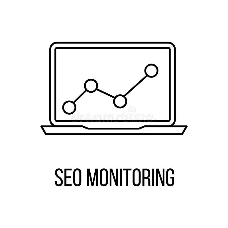 Het pictogram of het embleem de stijl van de lijnkunst van SEO Monitoring royalty-vrije illustratie