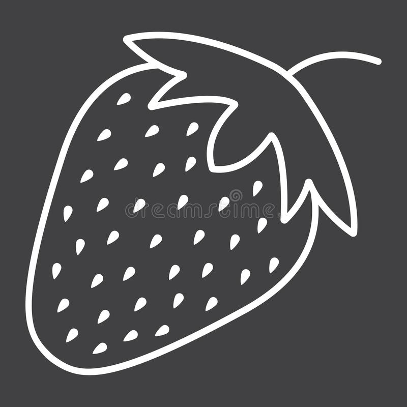 Het pictogram, het fruit en het dieet van de aardbeilijn vector illustratie