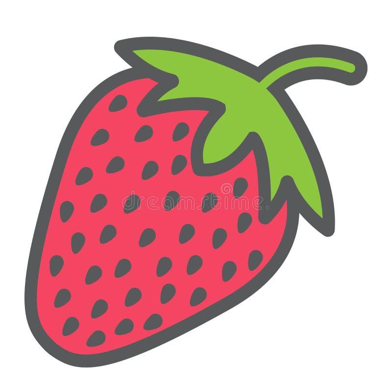 Het pictogram, het fruit en het dieet van de aardbeilijn royalty-vrije illustratie