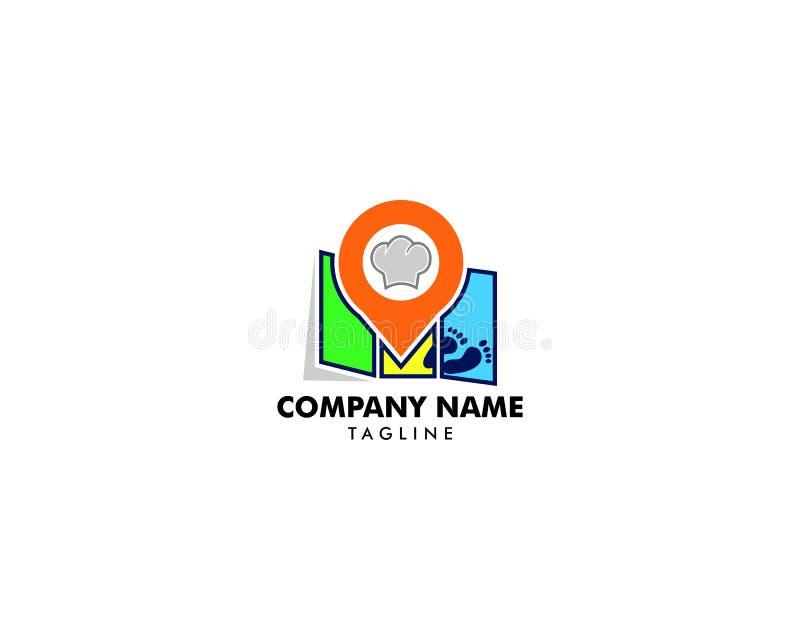 Het Pictogram Logo Design Element van het kaartvoedsel stock illustratie