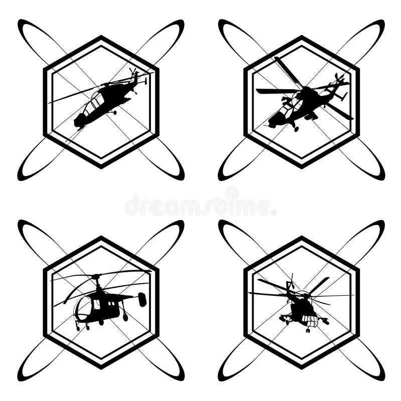 Het pictogram met de helikopter stock illustratie