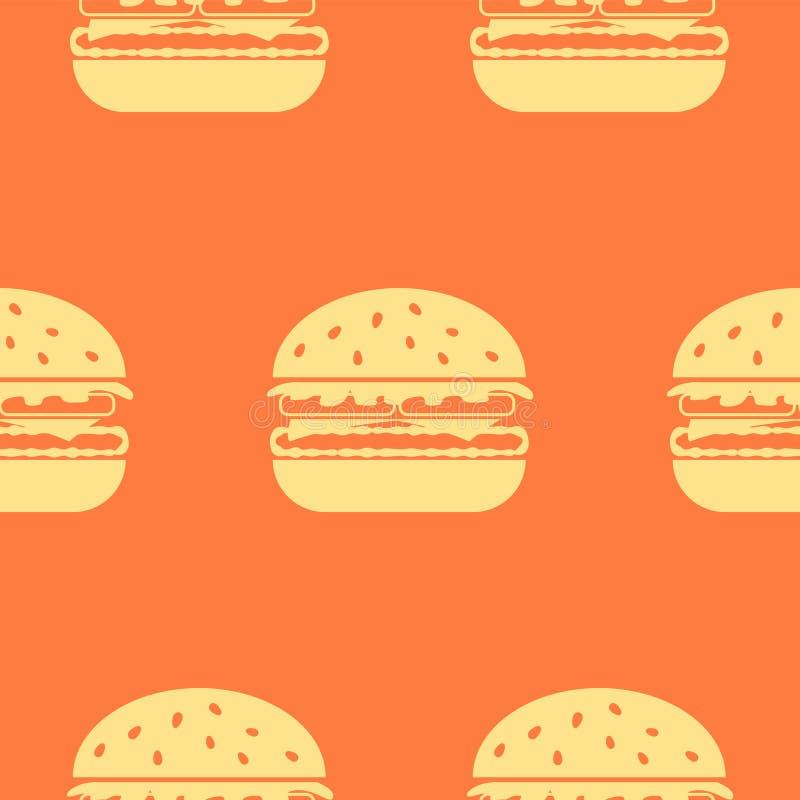 Het pictogram naadloos vectorpatroon van de hamburgerlijn royalty-vrije illustratie