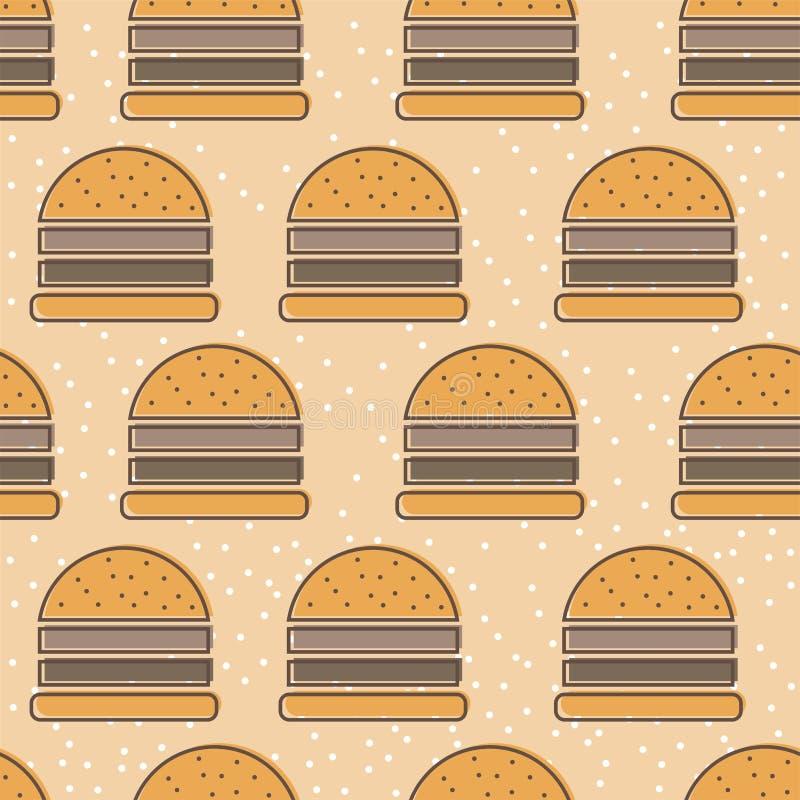 Het pictogram naadloos vectorpatroon van de hamburgerlijn De tileable achtergrond van het snel voedseloverzicht vector illustratie