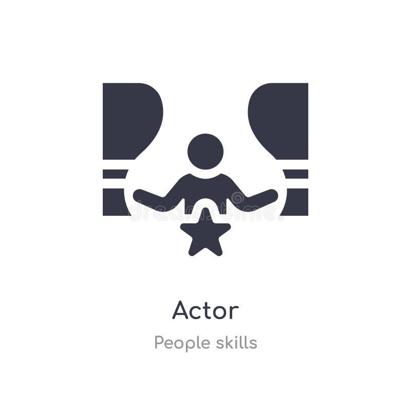 het pictogram van het acteursoverzicht ge?soleerde lijn vectorillustratie van de inzameling van mensenvaardigheden het editable d royalty-vrije illustratie