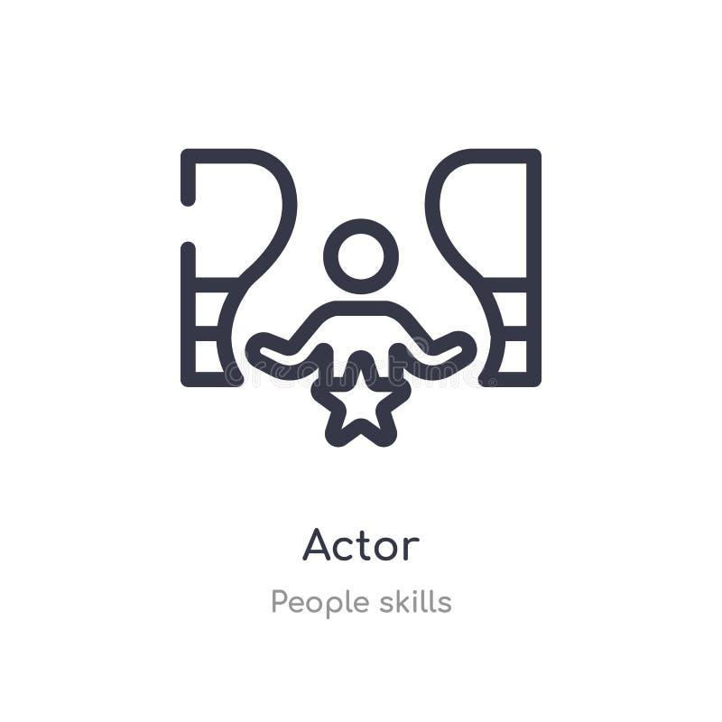 het pictogram van het acteursoverzicht ge?soleerde lijn vectorillustratie van de inzameling van mensenvaardigheden het editable d stock illustratie