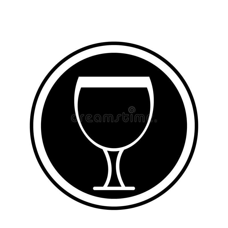 Het pictogram van het alcoholglas, pictogram van de wijn het vectorillustratie royalty-vrije illustratie