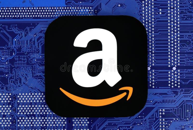 Het pictogram van Amazonië op kringsraad die wordt geplaatst stock afbeeldingen
