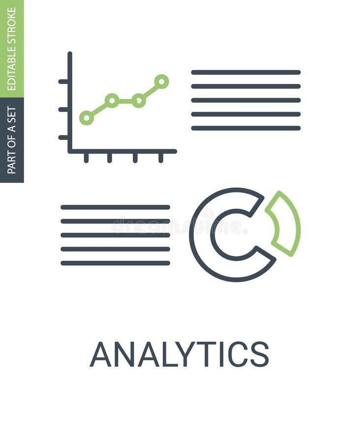 Het pictogram van Analyticsgrafieken met overzichtsstijl en editable slag royalty-vrije illustratie