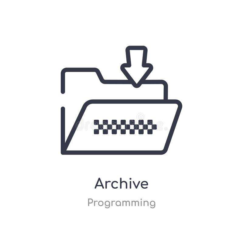 het pictogram van het archiefoverzicht ge?soleerde lijn vectorillustratie van de programmering van inzameling het editable dunne  royalty-vrije illustratie