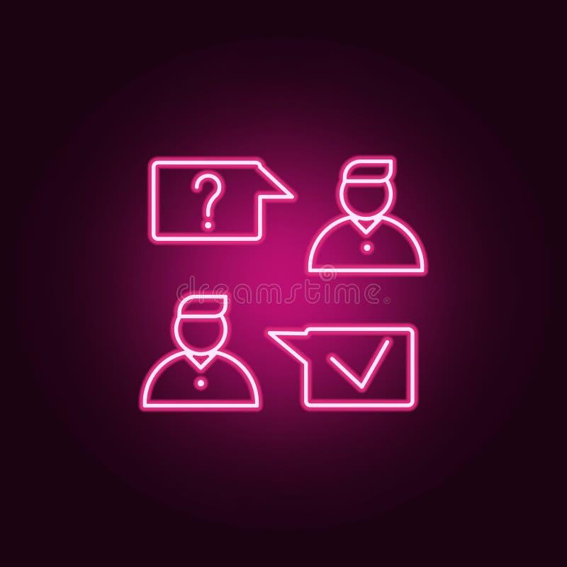 Het pictogram van het baangesprek Elementen van gesprek in de pictogrammen van de neonstijl Eenvoudig pictogram voor websites, We royalty-vrije illustratie