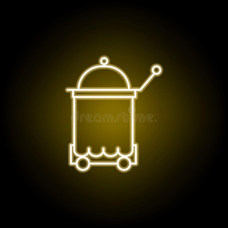 het pictogram van het bediening op de kamerdienblad in neonstijl De tekens en de symbolen kunnen voor Web, embleem, mobiele toepa stock illustratie