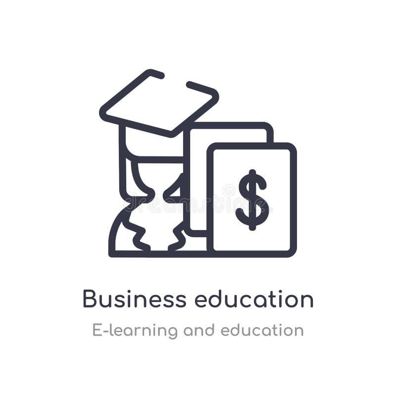 het pictogram van het bedrijfsonderwijsoverzicht ge?soleerde lijn vectorillustratie van e-leert en onderwijsinzameling editable d vector illustratie