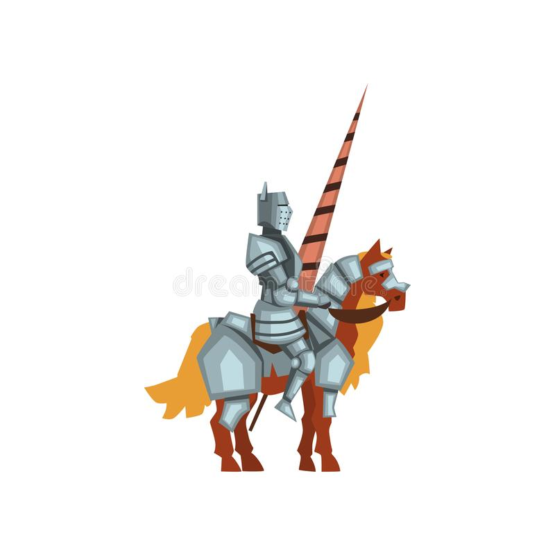 Het pictogram van beeldverhaalflatvector van koninklijke ridder op horseback met in hand lans Moedige strijder die glanzend ijzer royalty-vrije illustratie