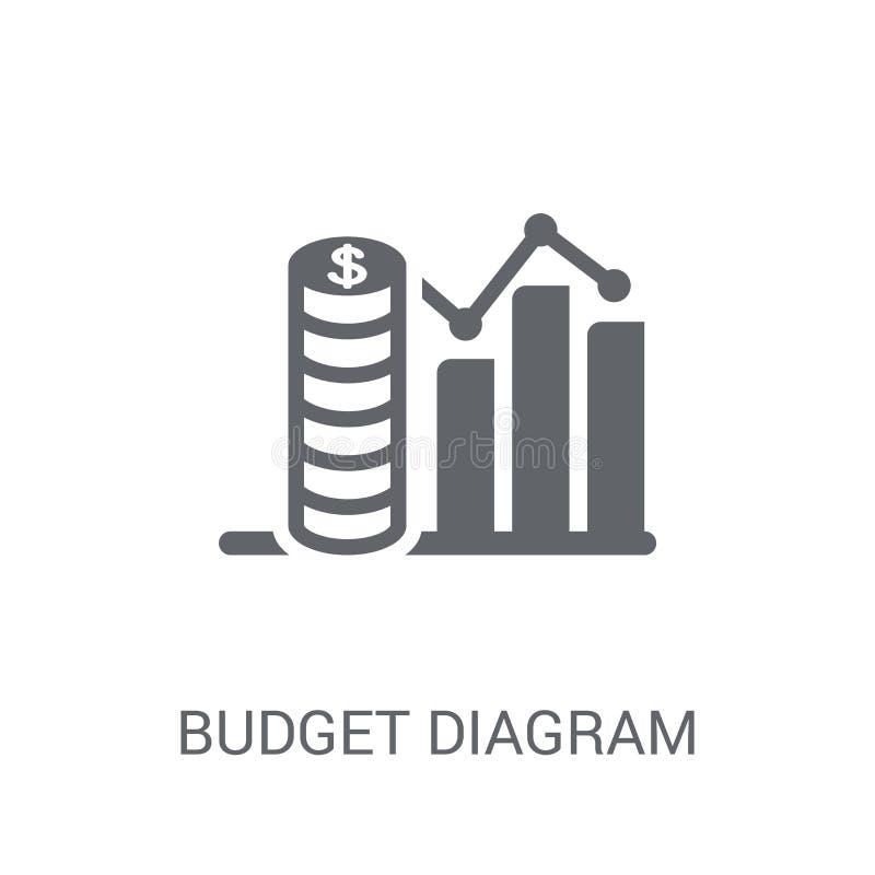het pictogram van het begrotingsdiagram In het embleemconcept van het begrotingsdiagram op wit vector illustratie