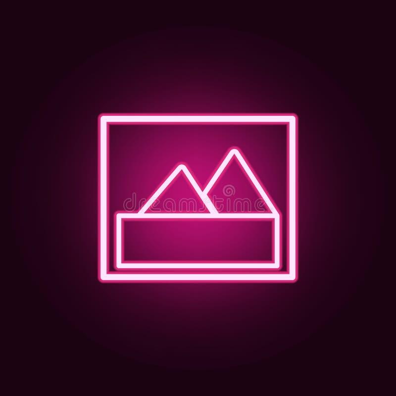 het pictogram van het bergbeeld Elementen van Web in de pictogrammen van de neonstijl Eenvoudig pictogram voor websites, Webontwe stock illustratie